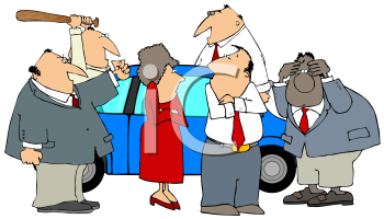 Group of Business People Having Road Rage