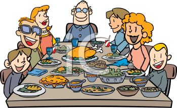 Royalty Free Clipart Image Large Family Having A Holiday Dinner