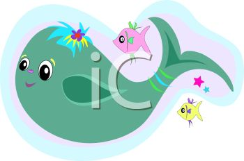 Cartoon of a Cute Whale and Fishes