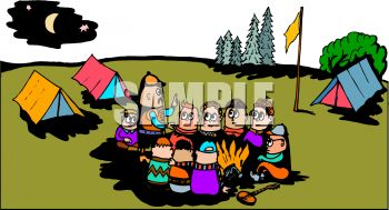 Cartoon of Campers Sitting Around a Campfire