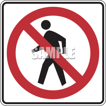 "This ""road sign-no pedestrian crossing symbol"" clip art image is available"