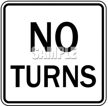 "This ""road signs-no turns"" clip art image is available as part of a low cost"