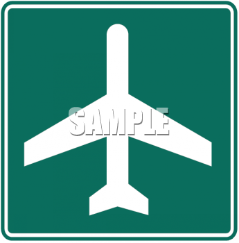 Green and White Road Sign-Airport Symbol