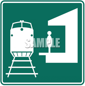 Green and White Road Sign-Train Station Symbol