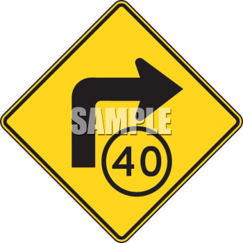Road Sign-40 MPH Turn