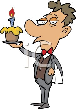 Cartoon of a Butler Holding a Birthday Cupcake