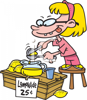 Cartoon of a Little Girl Selling Lemonade