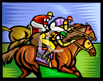 Free Auto Racing Clip  on Jockey S Racing Their Horses   Royalty Free Clipart Image