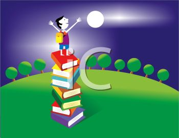 Boy Standing On a Stack of Books Under the Moon