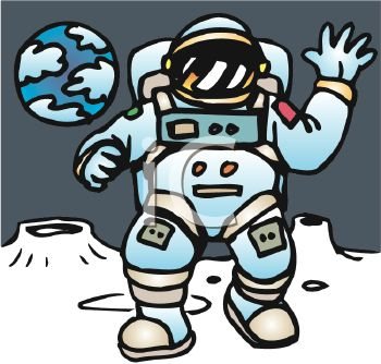 Cartoon of an Astronaut Walking on the Moon