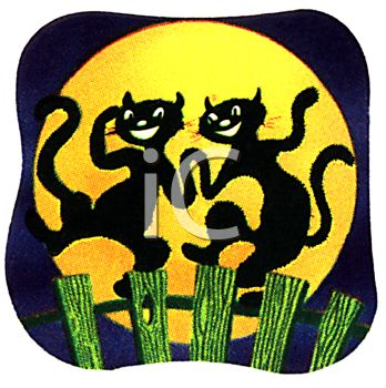 Black Cats Dancing on a Fence Under a Full Moon