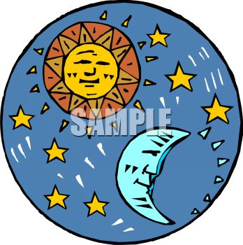 "This ""sun and moon with stars"" clipart image can be licensed as part of a"