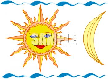 Sun with a Face and a Quarter Moon