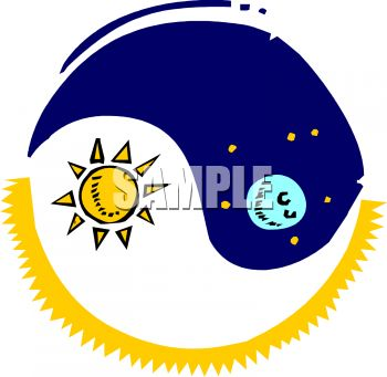 royalty free clip art image ying yang with sun and moon rh clipartguide com free sun moon and stars clipart sun and moon clipart images