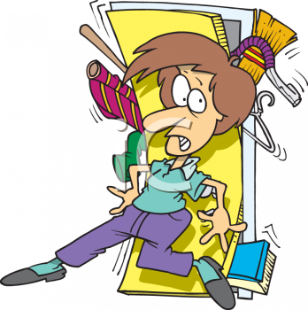 Woman Trying to Close the Door of a Closet Overflowing with Stuff