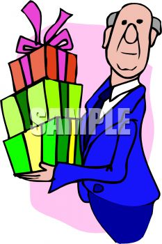 Butler Holding a Stack of Presents