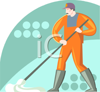 Man From a Cleaning Service Mopping
