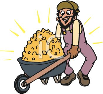 Miner with a Wheelbarrow Full of Gold