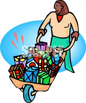 African American Woman with a Wheelbarrow Full of Presents