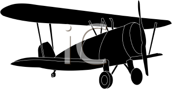 Royalty Free Clipart Image Bi Plane Silhouette