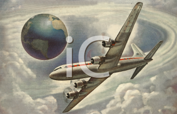 Vintage Style-Commercial Jet Flying Around the Earth