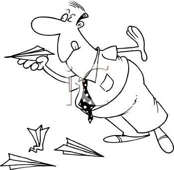 Royalty Free Clip Art Image Cartoon Of A Man Flying Paper Airplanes