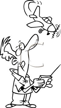 Black and White Cartoon of a Man Flying a Remote Control Plane