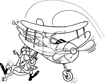 Black and White Cartoon of a Pilot Falling Out of His Plane