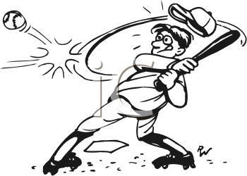 Black and White Cartoon of Boy Hitting a Baseball