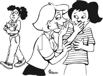 Black and White Cartoon of Two Girls Gossiping About Another Girl