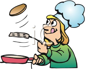 Cartoon of a Girl Making Pancakes