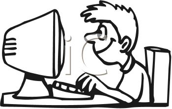 Black and White Cartoon of a Boy Typing on a Computer