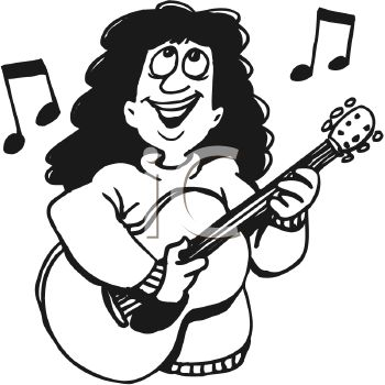 Black and White Cartoon of a Girl Playing the Guitar and Singing