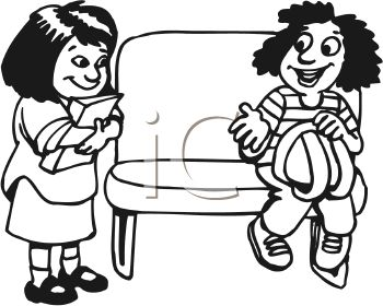 Black and White Cartoon of a Girl Sharing Her Seat on the Bus