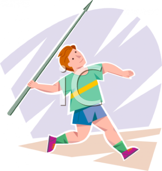 Boy Throwing a Javelin at a Track and Field Event