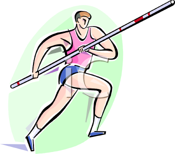 Guy Pole Vaulting at a Track and Field Event