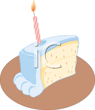 Slice of Birthday Cake with One Candle