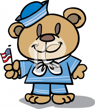Patriotic Teddy Bear Holding an American Flag