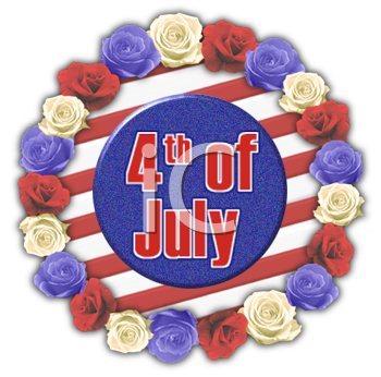 4th of July Banner of Roses and Stripes