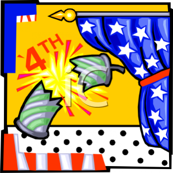 4th of July Banner Showing an Exploding Firecracker