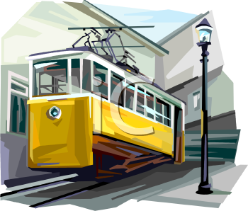 Royalty Free Clipart Image: Electric Trolley