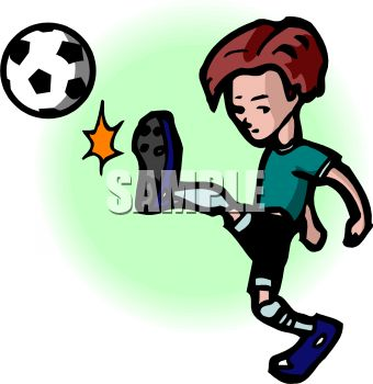 Cartoon of a Boy Kicking a Soccer Ball