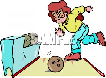 Cartoon of a Woman Bowling