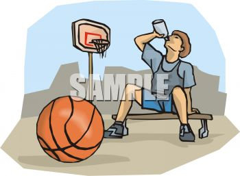 Cartoon of a Boy Drinking Water After Playing Basketball