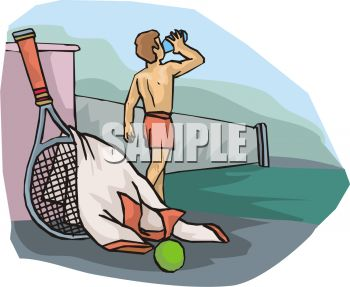 Cartoon of a Guy Drinking Water After Playing Tennis