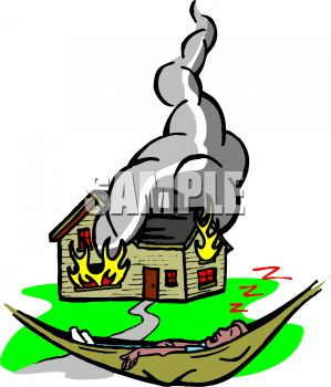 Royalty Free Clip Art Image Man Sleeping In A Hammock While His House Burns