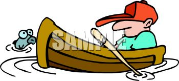 Man Sleeping In His Fishing Boat Royalty Free Clipart Image