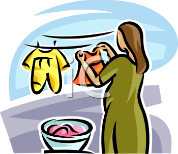 New Mother Hanging Her Baby's Clothes to Dry