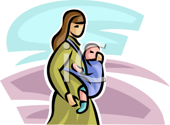 Woman With Her Baby in a Front Sling