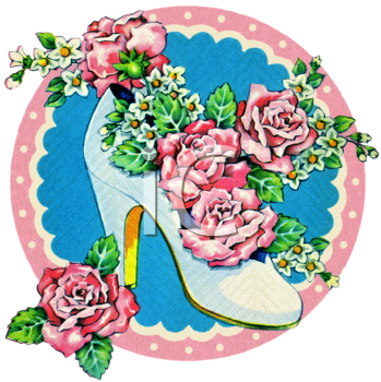 Royalty Free Clip Art Image Vintage Wedding Brides Shoe Filled With Roses